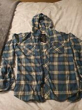 Superdry Men's Light Blue Check Hooded Shirt Lumberjack 100% Cotton Size Small