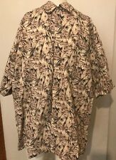 VTG Hawaiian Print Mens Aloha Wear Brown Tan Hollis River sz Large L 100% Cotton