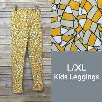 RARE Lularoe Kids Leggings L/XL (7-12) orange Candy Corn Halloween NWT HTF LLR