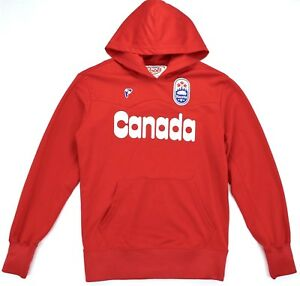 Vintage Roots Canada Unisex Pullover Hoodie Red Sweater Sz XS Made in Canada