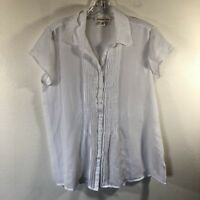 Coldwater Creek Women Button Down Blouse Small White Short Sleeve Career Sheer