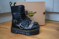 Dr MARTENS JADON Hi Stud Black Smooth Leather Platform Boots UK 4 EU 37 US 6