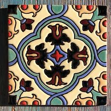 "8~Talavera Mexican Pottery Tile 4"" Lorna Santa Barbara aqua sky blue tan black"