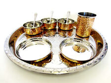 10 Pc Indian Copper & Stainless Steel Thali Set Dinner Food Curry