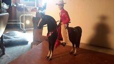 "Hartland ""Cowboy"" Figure on Black Horse w/red saddle Western Model Figure"