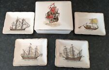 More details for vintage sandland trinket box with 4 ashtrays pin trays ships staffordshire