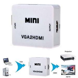 VGA TO HDMI 1080P HDTV Video Audio Adapter Box For PC Laptop VGA2HDMI Converter
