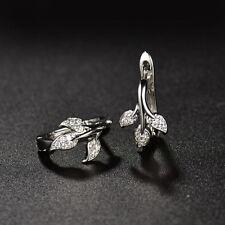 Huggie earrings 18ct White gold Dipped Tree of life Topaz hoop White sapphire
