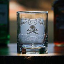Skull and Cross Bones Groomsmen Whiskey Bourbon Rocks Glass, SET OF 2