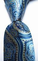 New Classic Paisley  Blue Gold Black JACQUARD WOVEN 100% Silk Men's Tie Necktie