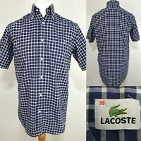 Lacoste Mens Short Sleeve Shirt Blue White Checked Size M 39 Summer Holiday