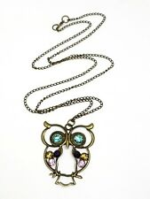 Owl Long Chain Necklace Jewellery Pendant Fashion Vintage Style Rhinestone