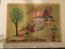 Vintage 1964 Walt Disney 16MM Films Safety Poster Have A Family Escape Plan