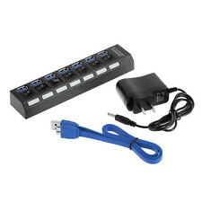 7Ports USB 3.0 Hub with On/Off Switch+EU/US AC Power Adapter for PC Laptop FY