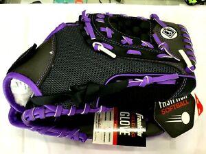 "11"" Fast Pitch Softball Glove Right Hand Thrower & Adjustable Wrist Closure Purp"
