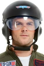 Top Gun Deluxe Helm Schwarz mit verstellbarem Visier & Kinnriemen Hut