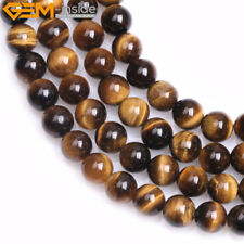 """Natural Stone Genuine Tiger Eye Gem Beads For Jewelry Making 15"""" Free Shipping"""