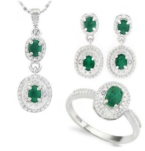 EMERALD DIAMOND SILVER NECKLACE EARRING & RING SET 2.5 CWT NATURAL MAY BIRTH