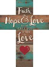 Faith Hope & Love 1 Corinthians 13:13 Red Heart Rustic Wood Wall Cross Plaque