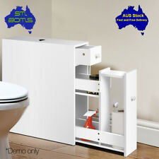 Slim Bathroom Storage Narrow Cabinet White Space Saving Drawers Shelves Modern