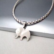 Silber Edelstahl Tier Elefanten Anhänger 3mm Weiß Leder Halskette Damenkette