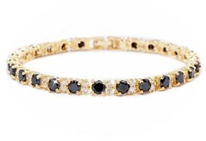 Yellow gold finish Black onyx and created diamonds round cut tennis bracelet
