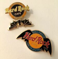 Halloween 1998 - two Hard Rock Cafe Hrc bat pins - Reykjavic and Chicago