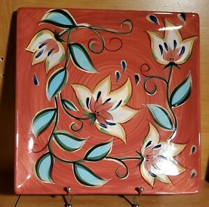 """Gail Pittman RED BOUNTIFUL 13"""" Square Serving platter, Southern Living Very good"""
