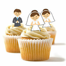 ✿ 24 Edible Rice Paper Cup Cake Toppings, Cake decs - Bride and Groom ✿