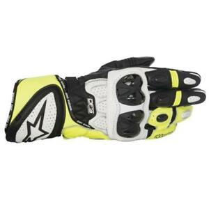 Alpinestars GP Plus R Motorcycle Motorbike Race Gloves White Yellow
