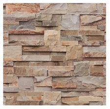 Muriva Large Slate Wallpaper Natural (j274-08) J27408 Stone Brick Brown Grey
