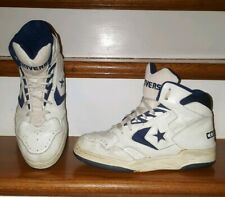 Vintage Converse NBA High Top Mens Leather Basketball Shoes Sz 8.5  White Blue