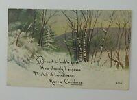 Vintage Christmas Postcard Winter Scene Snow Trees