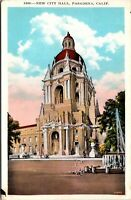 Vtg 1920's City Hall Building in Pasdena California CA Postcard g4725