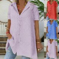 Women Casual Polka Dot Blouse Loose Short Sleeve Button Shirt Turndown Top Tunic