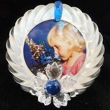 "BLUE FLOWER PICTURE FRAME Swarovski 3.6"" tall NEW NEVER SOLD Austria #207-892"
