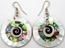 "Handmade 2"" Abalone Shell Mother of Pearl Shiva Eye Dangle earrings ; CA285-A"