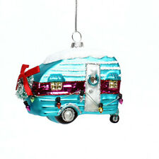 Darice Christmas Glass Ornament: Camper, 4 x 4 inches w