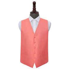 DQT Woven Plain Solid Check Coral Formal Mens Wedding Waistcoat S-5XL