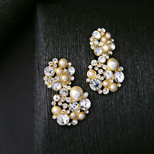 New Pearl Cluster Rhinestone Pave Floral Drop Earrings Shiny Gold Bride Jewelry