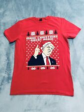 Mens Make Christmas Great Again Trump Funny Ugly Xmas T shirt Red