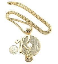 "NEW ICED OUT ROCAFELLA BIGGER PENDANT & 4mm/36"" FRANCO CHAIN NECKLACE XP926"