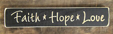 """FAITH-HOPE-LOVE"" Country Distressed Engraved Wood Sign"