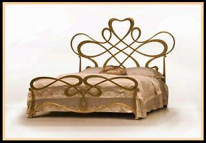 Antike-Betten Art Nouveau Iron Bed Metallbett Gold - Collection Rita Sibbe Herne