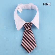 Lovely Dog Cat Striped Bow Tie Collar Pet Adjustable Neck Tie White Collar New