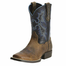 NWT ARIAT Kids Tombstone Wide Square Toe Cowboy Leather Boots 10012794