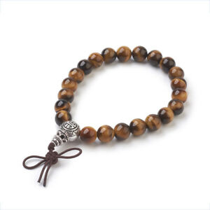 Tigers Eye Bead Bracelet Tibetan Style Bead Reiki Chakra Gemstone Crystal UK