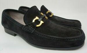 Salvatore Ferragamo Grandioso Bit Men's Black Suede Loafers Size 9.5 E