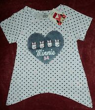 Girls White with Black Hearts T Shirt with Minnie Mouse Detail