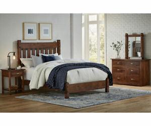 4-PC Amish Rustic Bedroom Set Slat Headboard Tenons Solid Wood Queen King Denver